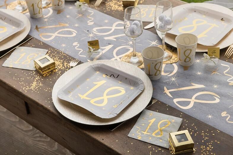 decoration de table 18ans or et blanc   La Boite à Dragées