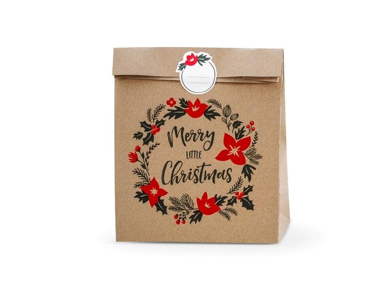 Sac Cadeau Merry Little Christmas Kraft Lot De 3 La Boite à