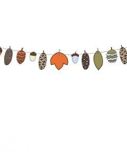 bannière woodland -cônes et feuilles