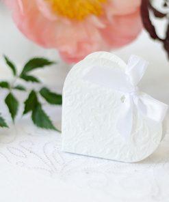 contenant à dragées-coeur blanc-lot de 10
