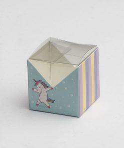 boite à dragées carrée licorne