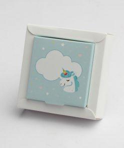 boite à dragées licorne bleu ciel