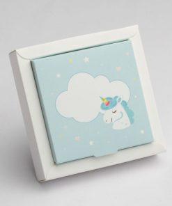 boite à dragées licorne bleu