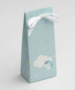 boite à dragées licorne bleue