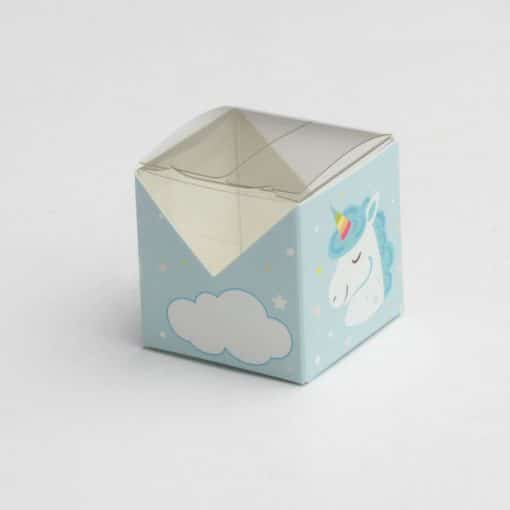 boite à dragées licorne carrée bleu
