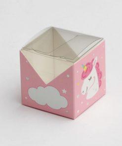 boite à dragées licorne carrée rose