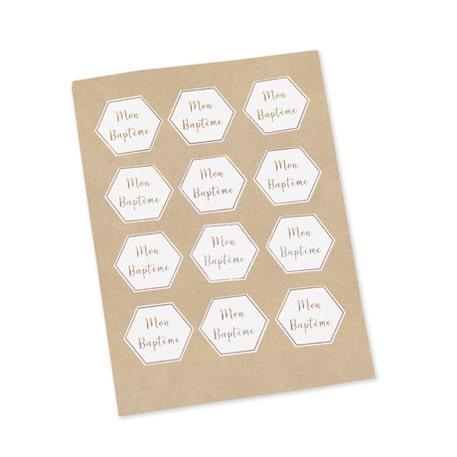 Stickers Bapteme Blanc Impression Or Lot De 12
