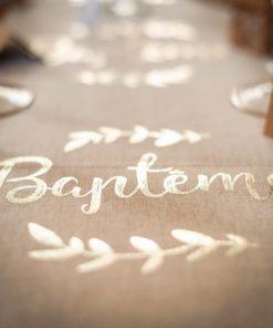 Déco baptême blanc et or