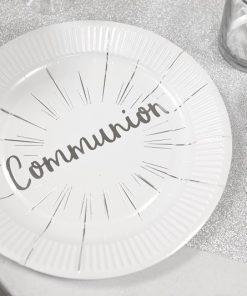 Assiette blanc et argent deco communion