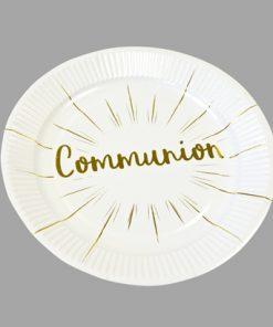 Assiette blanc et or communion