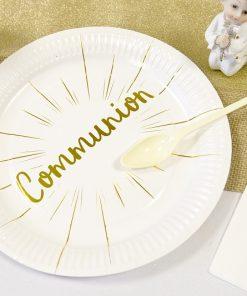 Assiette blanc et or deco communion