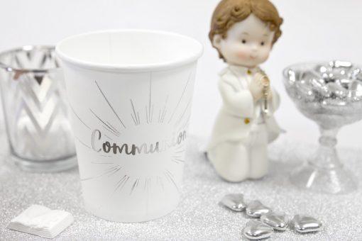 Gobelets Deco communion blanc et argent
