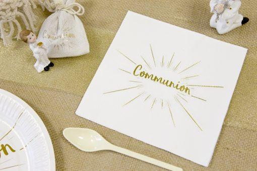 Serviette communion deco blanc et or