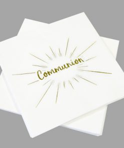 Serviette communion deco blanc et or