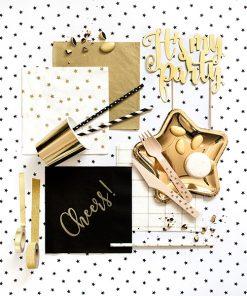 serviette en papier doré or