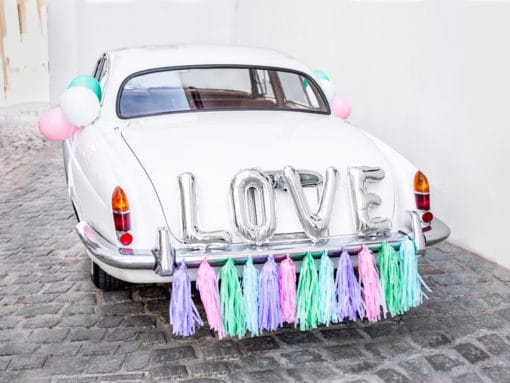 Decoration voiture mariage Rose Gold