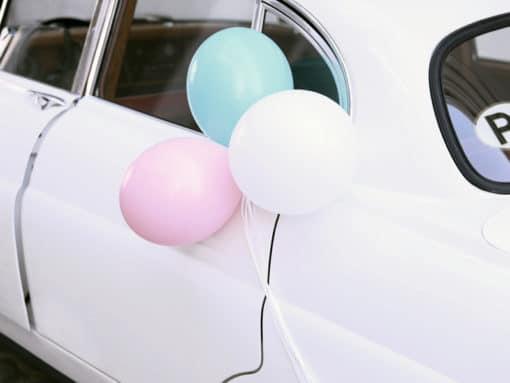 ecoration voiture mariage mint et rose
