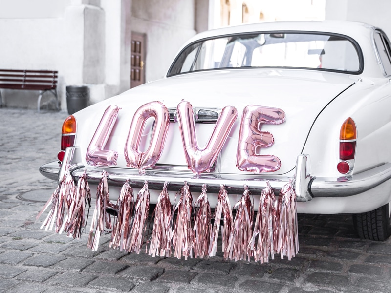 Décoration voiture mariage , Kit  Love , Rose Gold