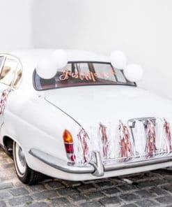 Décoration voiture mariage rose gold