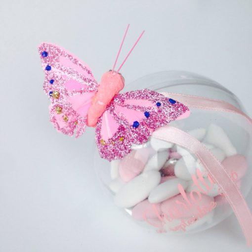 Papillon sur pince rose - deco dragees bapteme mariage communion