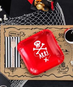 Decoration pirate anniversaire - assiette rouge