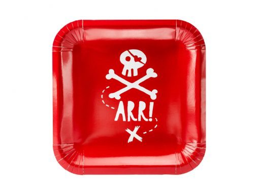 Decoration pirate anniversaire - assiette rouge