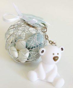 Dragées bapteme ourson blanc porte clés
