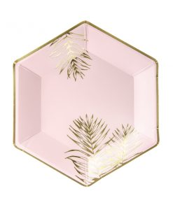 assiette hexagonale rose feuiiles or