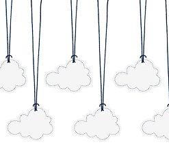 etiquette nuage avec ficelle