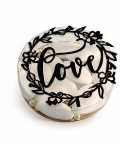 Boite a dragees mariage couronne love noir