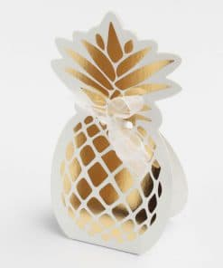 boite a dragees ananas or et blanc