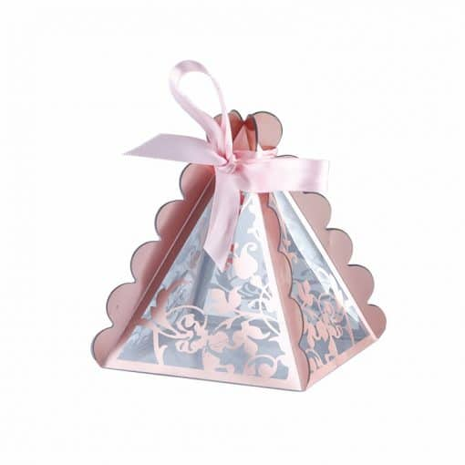 Boite a dragees rose gold pyramide