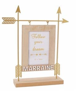 Cadre photo fleche or Marraine - Cadeau marraine bapteme