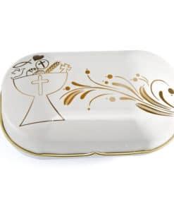 Boite a dragees communion or et blanc