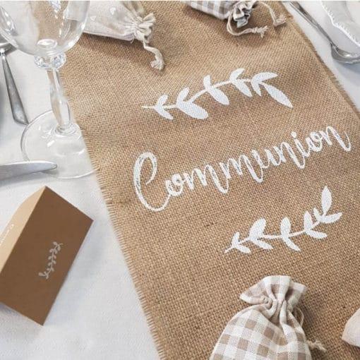 Chemin de table jute communion