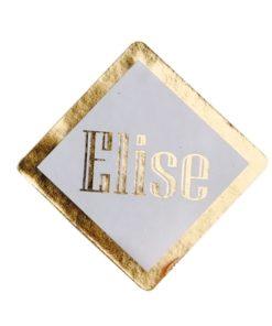 sticker blanc et or étiquette à dragées