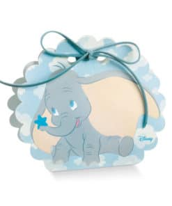 Boite dragées éléphant dumbo bleu ronde