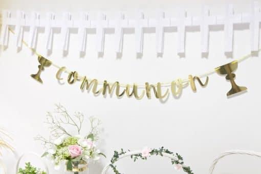 Guirlande communion or avec calice