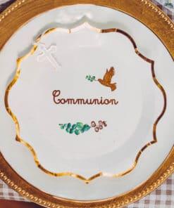 Assiette communion colombe et feuillage