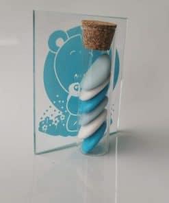 eprouvette dragées avec cadre ourson bleu verre