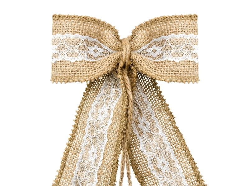 Decoration mariage champetre jute et dentelle