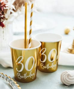 gobelet 30 ans blan et or deco anniversaire 30 ans