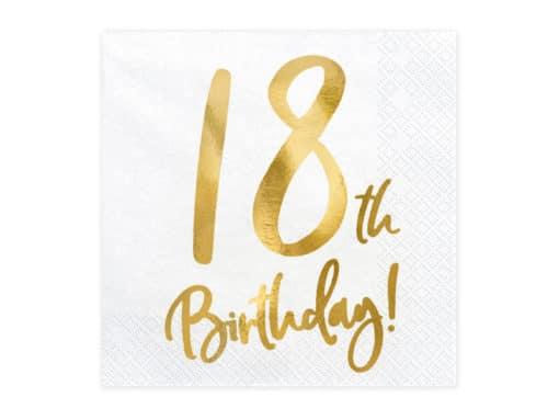 serviette anniversaire 18 ans blanc et or