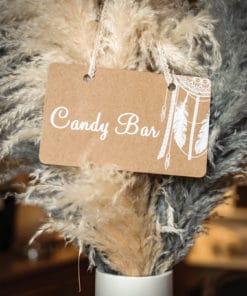 Mariage bohème pancarte kraft candy bar