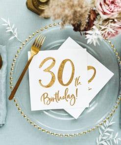 serviette anniversaire 30 ans blanc et or