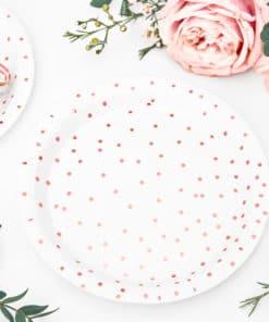 assiette rose gold et blanc à pois