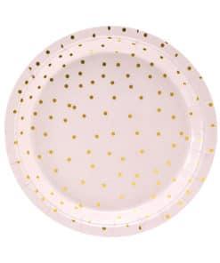 assiette rose poudré et or