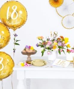 decoration anniversaire blanc et or 18 ans
