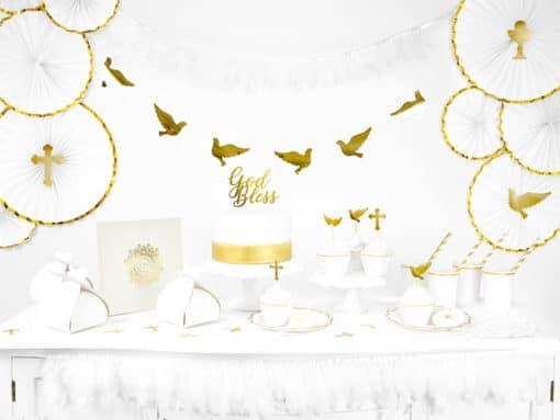 decoration communion blanc et or