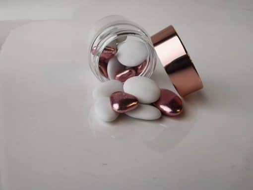 Pot dragees verre bouchon rose gold